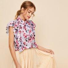 Bluse mit Schleife vorn, mehrschichtigen Schmetterlingaermeln und Blumen Muster
