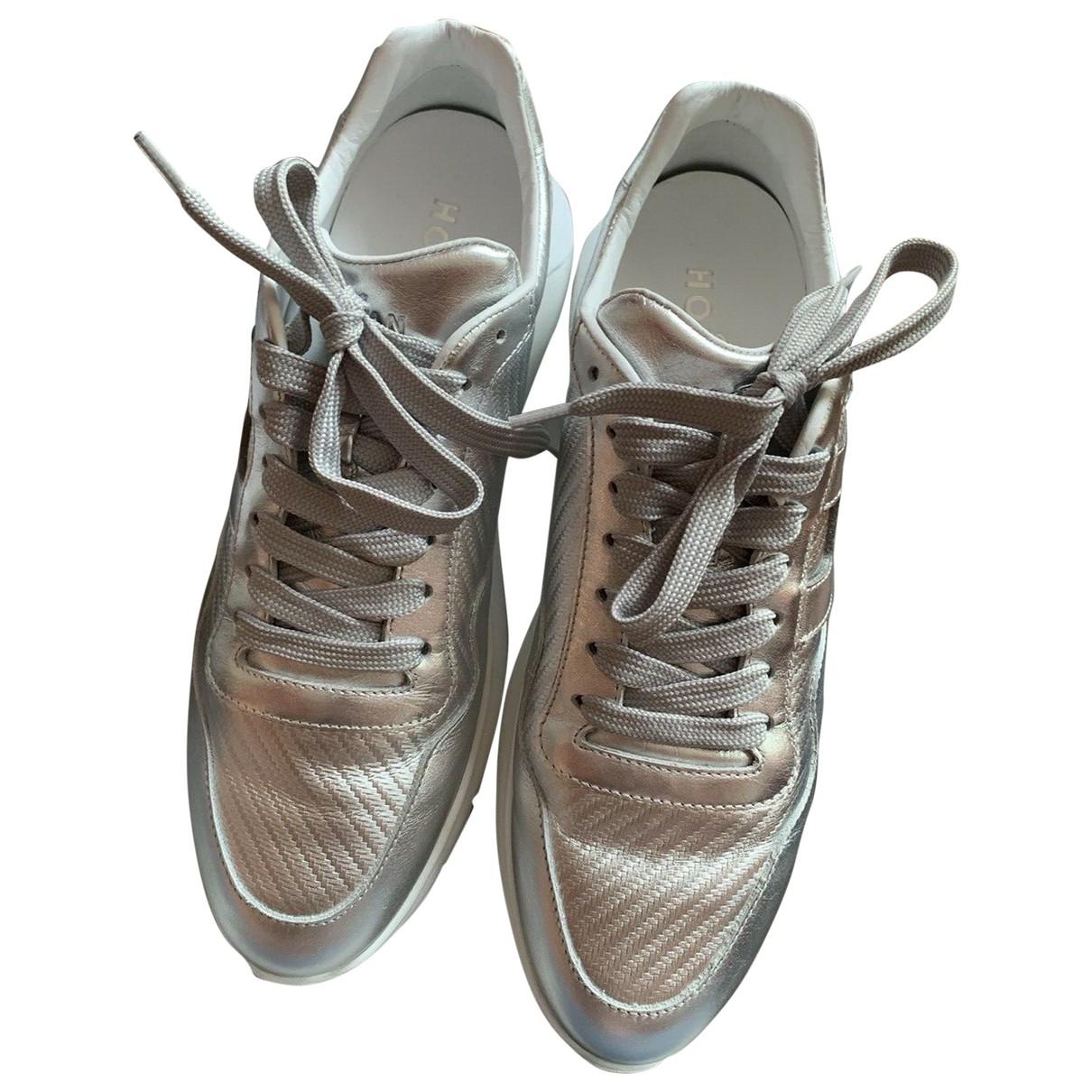 Hogan - Baskets   pour femme en cuir - metallise