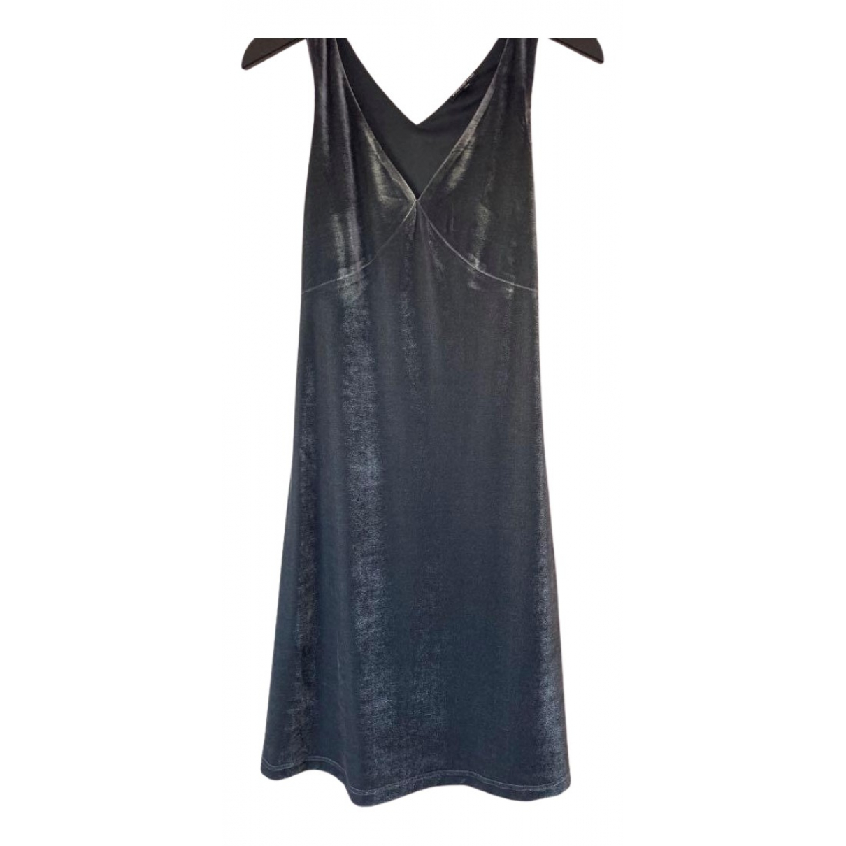 Non Signe / Unsigned \N Kleid in  Grau Samt