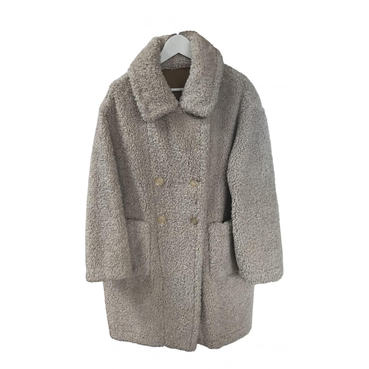 - Manteau Oversize pour femme en fourrure synthetique - ecru