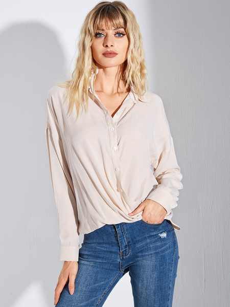 YOINS Beige Button Design Classic Collar Long Sleeves Blouse