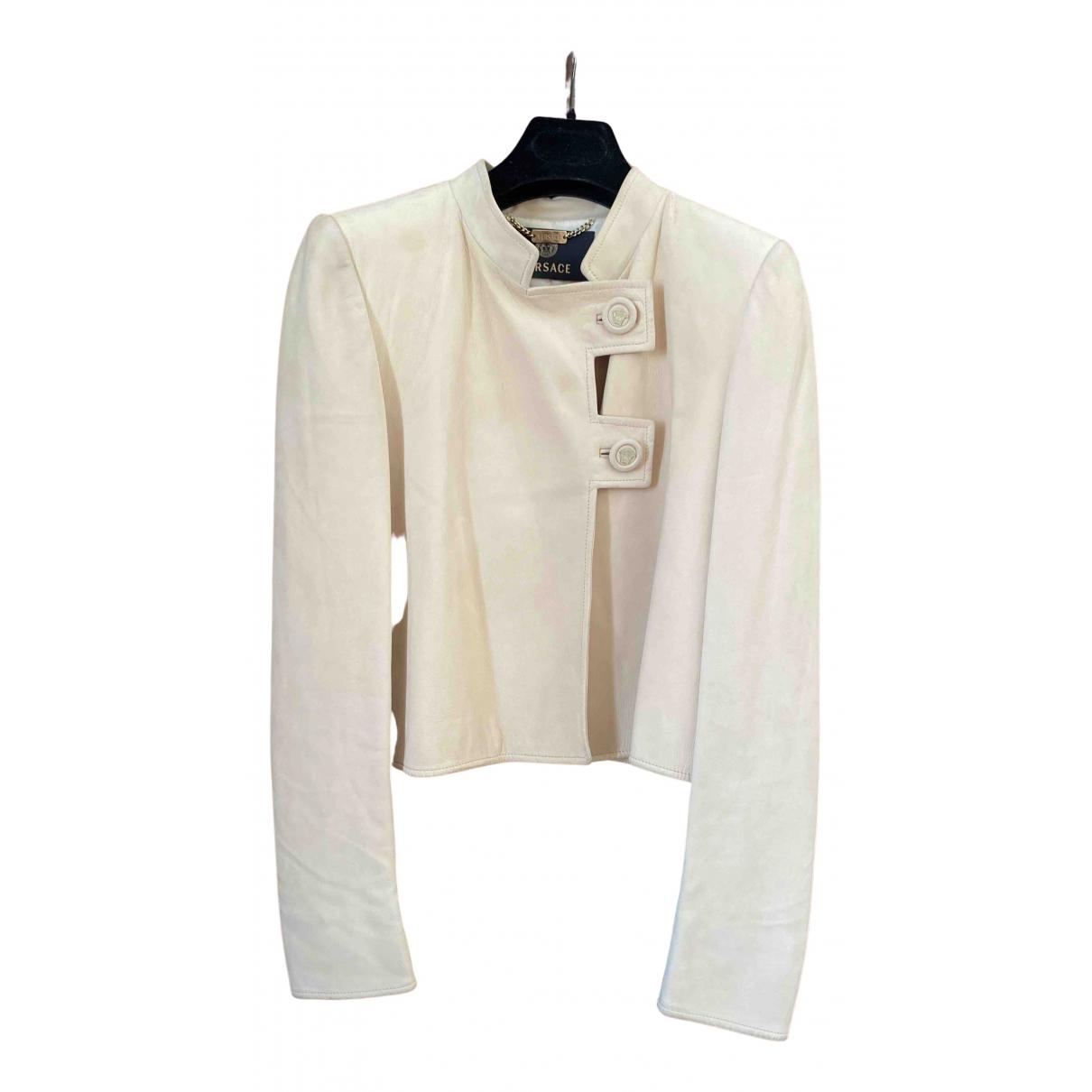 Versace - Veste   pour femme en cuir - beige