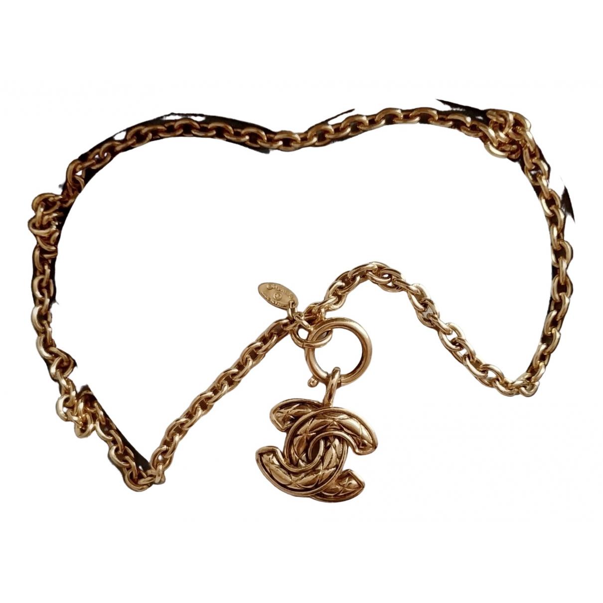Chanel - Collier CC pour femme en plaque or - dore