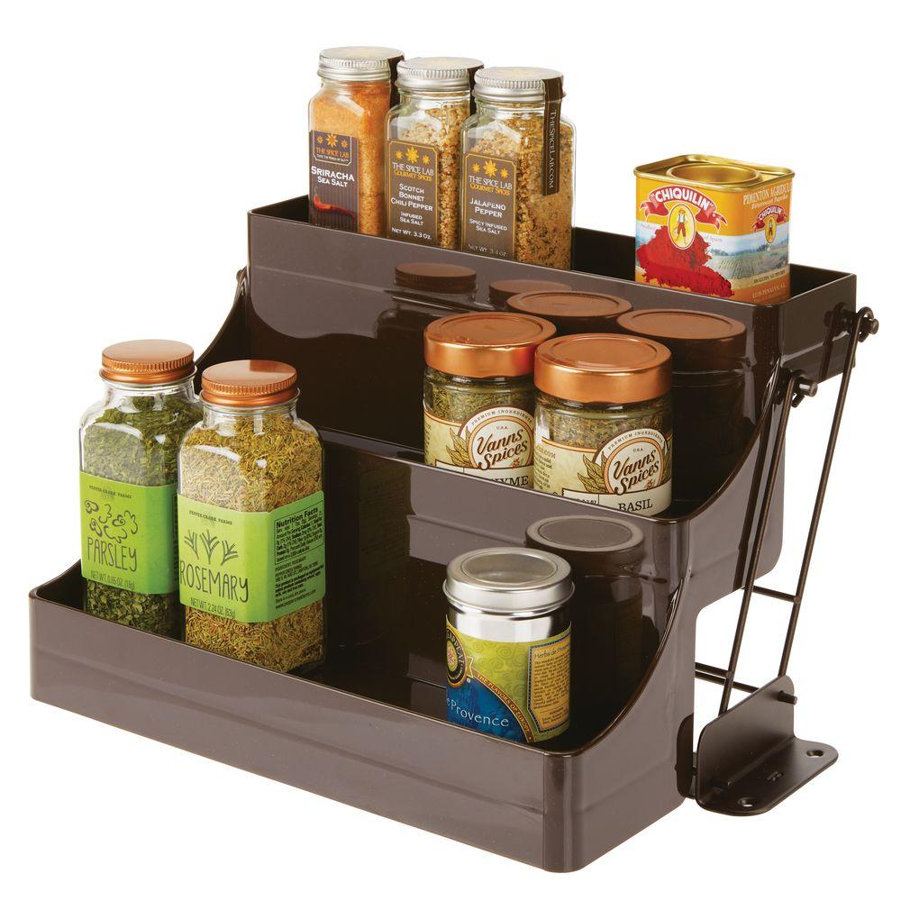 Pull Down Kitchen Cabinet Spice Rack Organizer in Bronze, 9 x 12.2 x 8, by mDesign