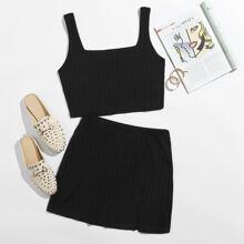 Rib-knit Crop Tank Top & Split Hem Skirt Set