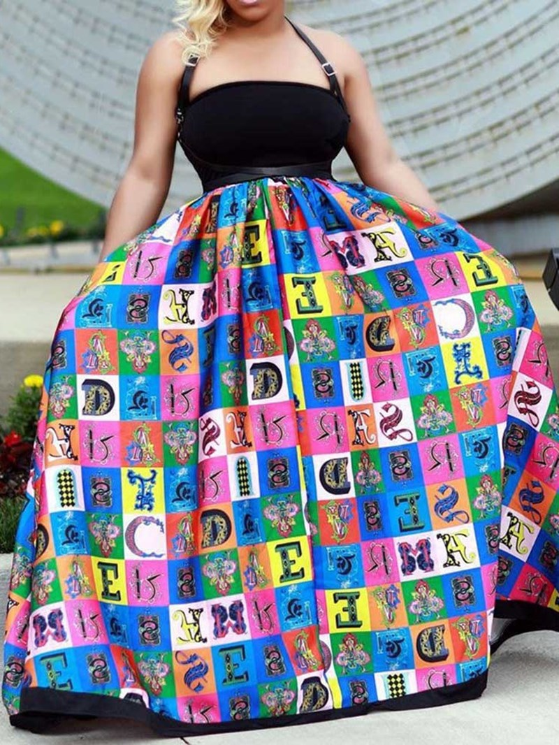 Ericdress Floor-Length Print Sleeveless Ball Gown Mid Waist Dress
