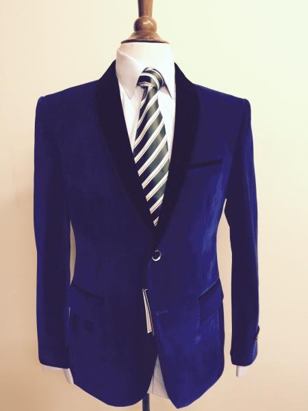 Mens Velvet ~ Velour Fabric Dinner Jacket Tuxedo Black Lapeled