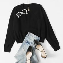 Drop Shoulder Crop Sweater