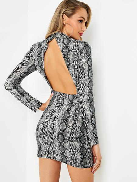 Yoins Grey Cut Out Back Snake Mandarin Collar Dress