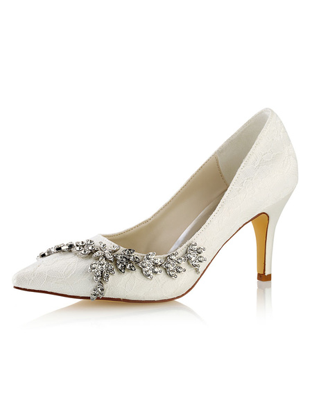 Milanoo Zapatos de novia de encaje Zapatos de Fiesta de tacon de stiletto Zapatos marfil  Zapatos de boda de puntera puntiaguada 8cm con pedreria
