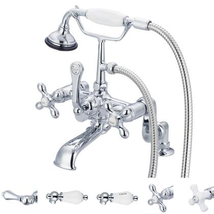 F6-0008-01-AX Water Creation F6-0008-01 Vintage Classic Adjustable Center Deck Mount Tub Faucet With Handheld