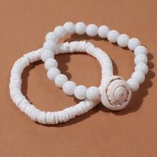 2pcs Shell Beaded Bracelet