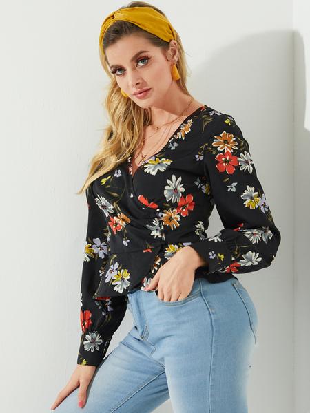 YOINS Black Wrap Design Random Floral Long Sleeves Shirt