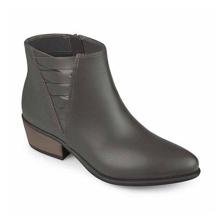 Journee Collection Womens Estell Booties Block Heel, 8 Medium, Gray