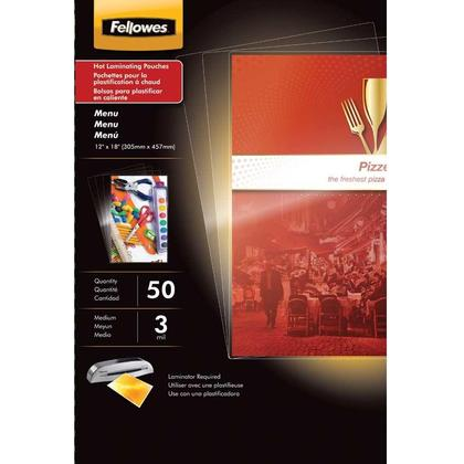 Fellowes@ Thermal Laminating Pouches - menu 11.5 x 17.5