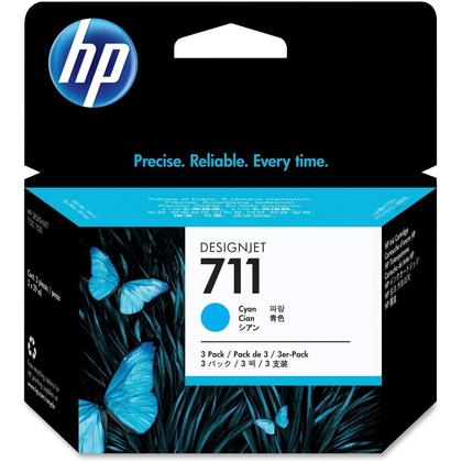 HP 711 CZ134A Original Cyan Ink Cartridge - 3/Pack