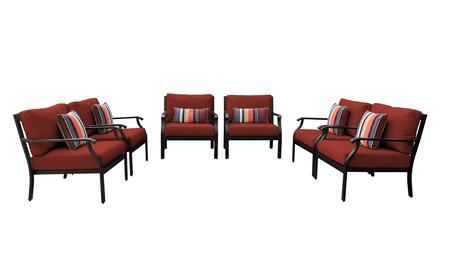 MADISON-06w-TERRACOTTA Kathy Ireland Homes and Gardens Madison Ave. 6 Piece Aluminum Patio Set 06w with 1 Set of Snow and 1 Set of Cinnamon
