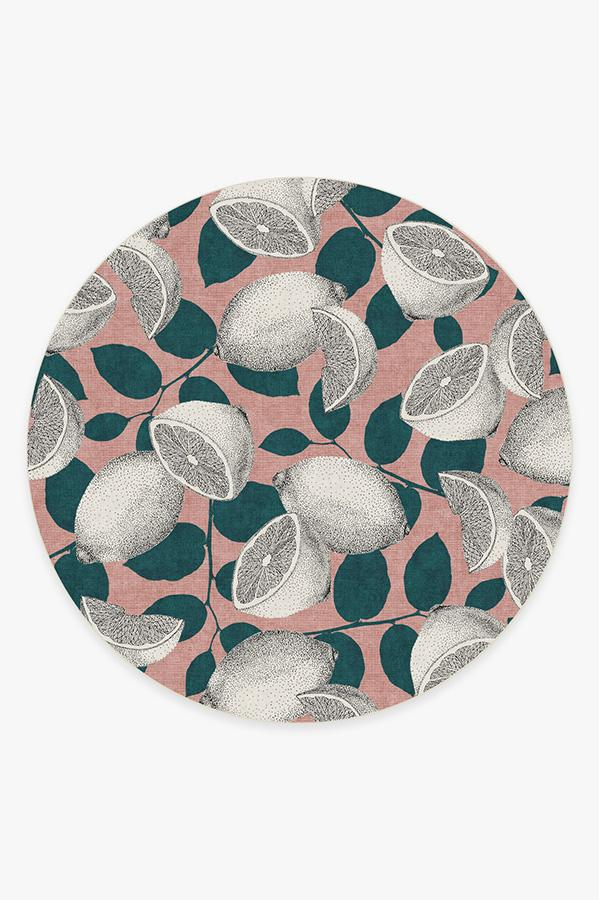 Washable Rug Cover & Pad | Lemonade Pink Rug | Stain-Resistant | Ruggable | 8' Round