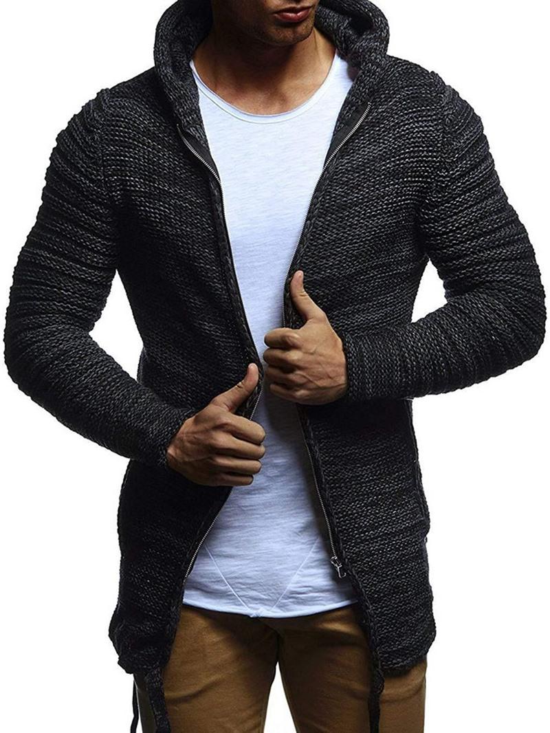 Ericdress Plain Standard Hooded Slim Fall Sweater