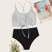 Striped Tie Back Bikini Swimsuit