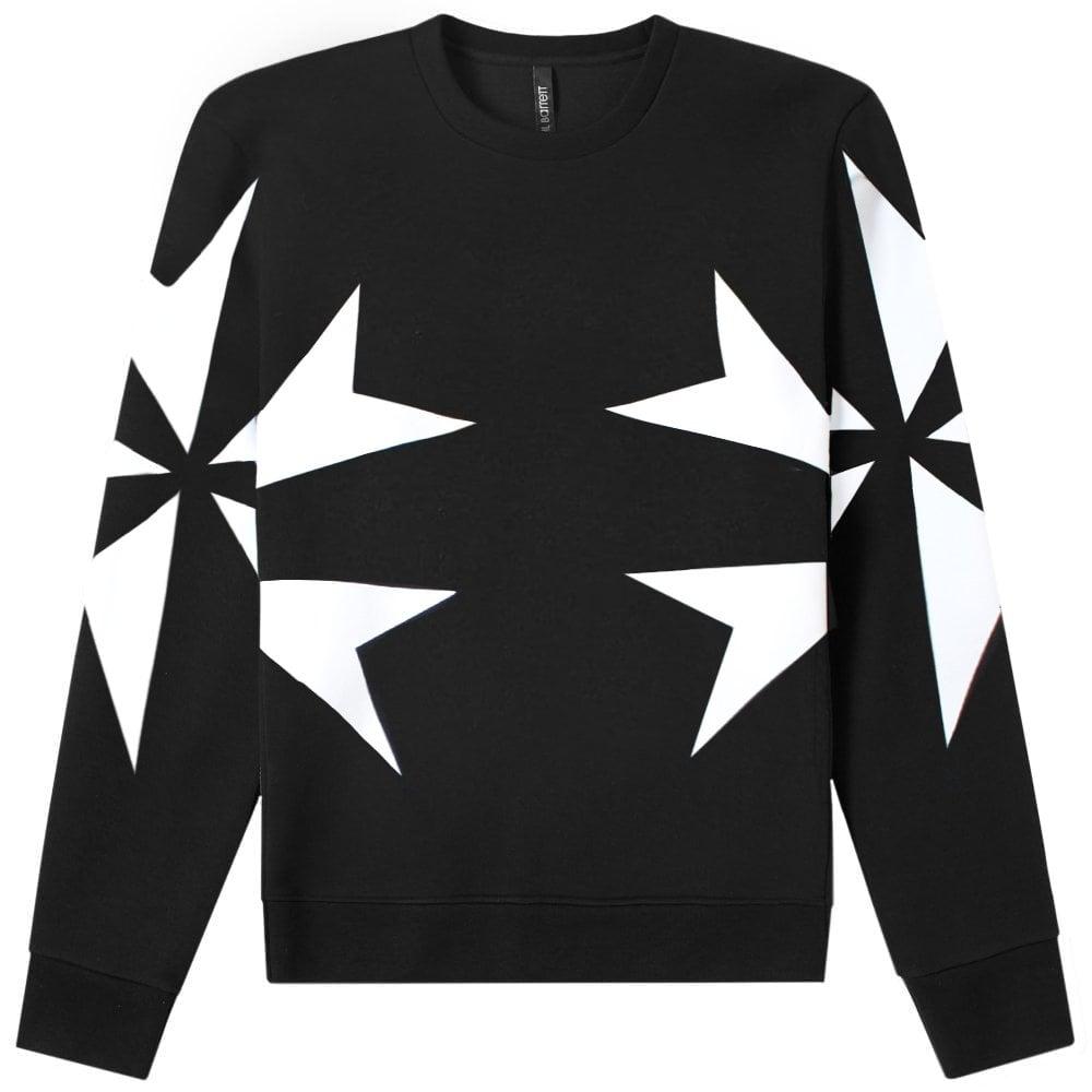 Neil Barrett Star Graphic Print Sweatshirt Colour: BLACK, Size: EXTRA LARGE
