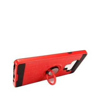 Insten Dual Layer Hybrid Stand Brushed PC/TPU Rubber Case Cover Compatible With Samsung Galaxy Note 9 (Red)