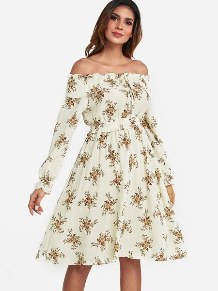 Yoins White Floral Print Off The Shoulder Dresses
