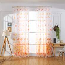 Hear Print Sheer Single Panel Curtain