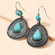Turquoise Decor Waterdrop Drop Earrings