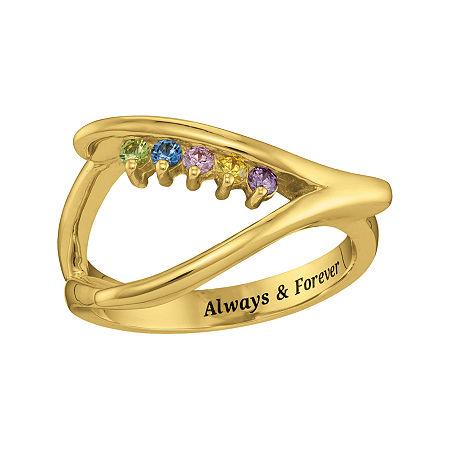 Personalized Birthstone Wishbone Ring, 5 , Yellow