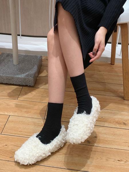 Milanoo Mocasines de piel sintetica Zapatos de invierno sin cordones blancos con punta redonda