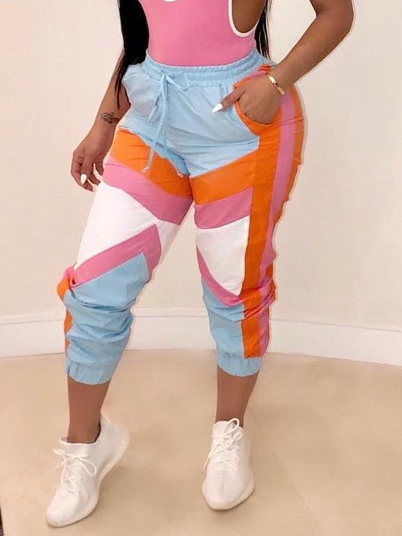 Ericdress Color Block Slim Pocket Mid-Calf Casual Pants