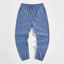 Men Drawstring Waist Slant Pocket Pants