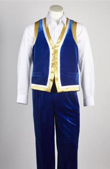 Mens 5 Button Blue Velvet Shiny Suit