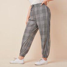 Plus Side Stripe Tie Front Plaid Pants