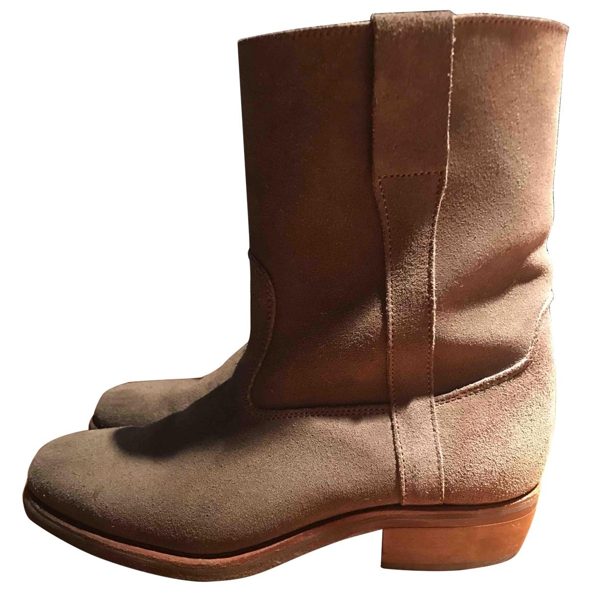 Odetta - Boots   pour femme en cuir - beige