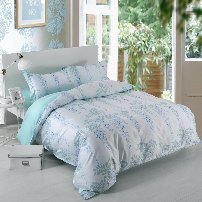 Designer 60S Brocade Leaves Strings Purple Flowers Shallow Color 4-Piece Cotton Bedding Sets