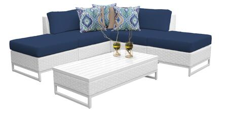 Miami MIAMI-06c-NAVY 6-Piece Wicker Patio Furniture Set 06c with 2 Armless Chairs  2 Ottomans  1 Corner Chair and 1 Coffee Table - Sail White and