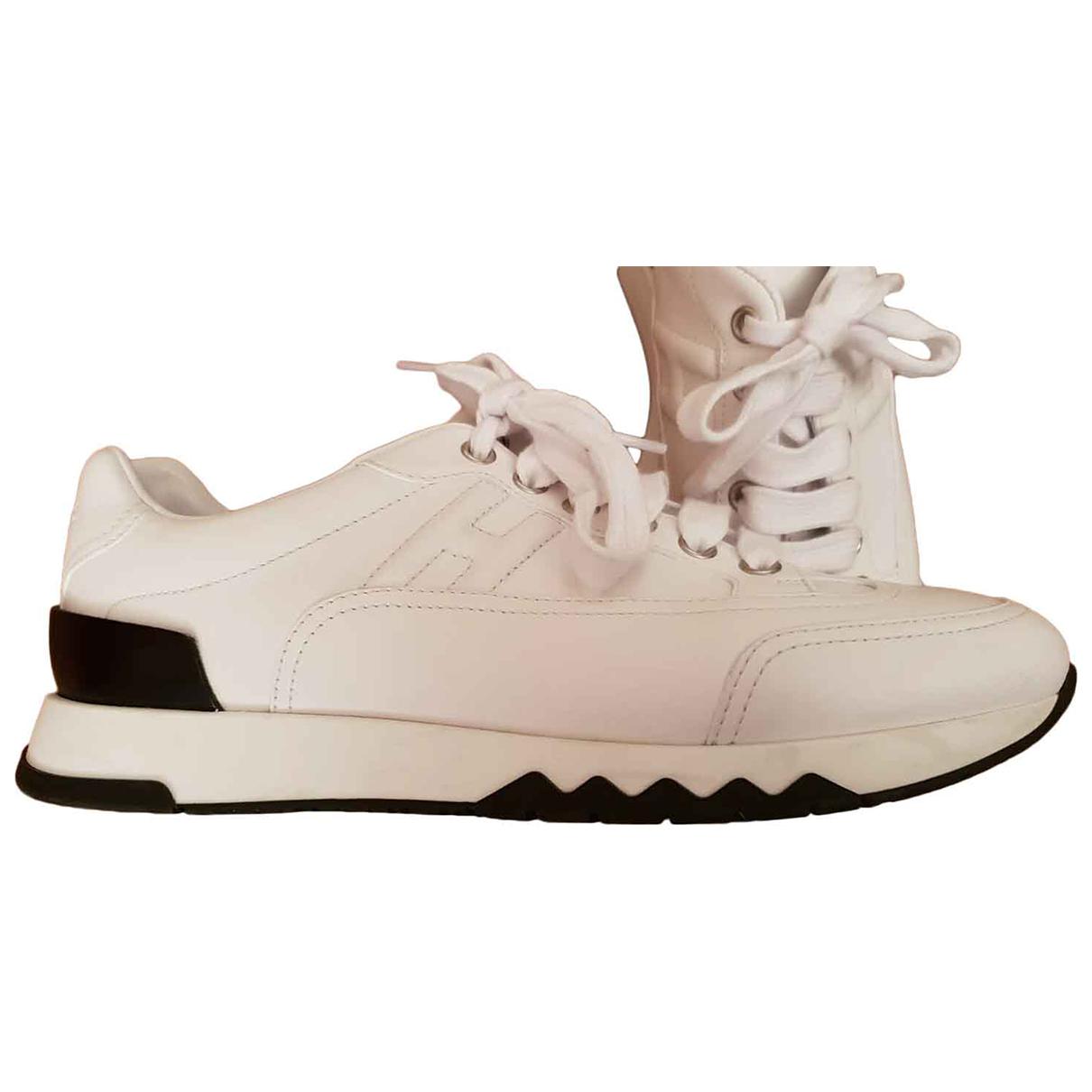 Hermes - Baskets Trail pour femme en cuir - blanc