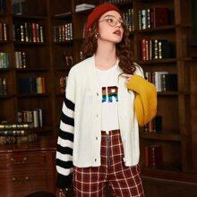 Drop Shoulder Striped Colorblock Cardigan