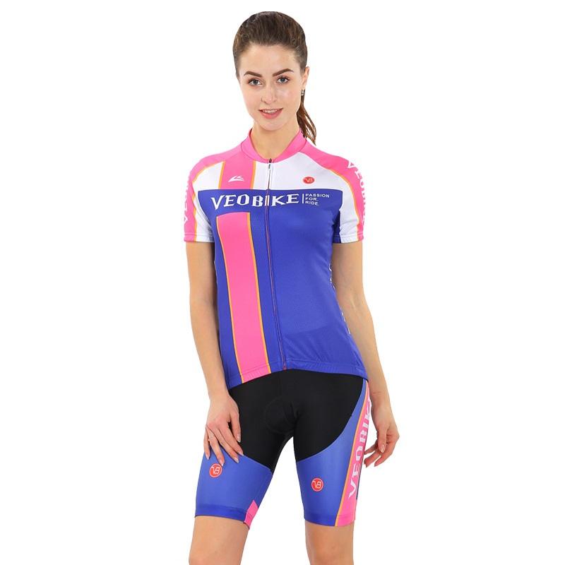 Pink Blue 3D Padded Pants Short Sleeve Women's Cycling Jersey