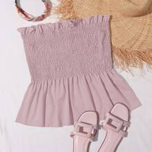Plus Solid Frill Trim Shirred Peplum Tube Top