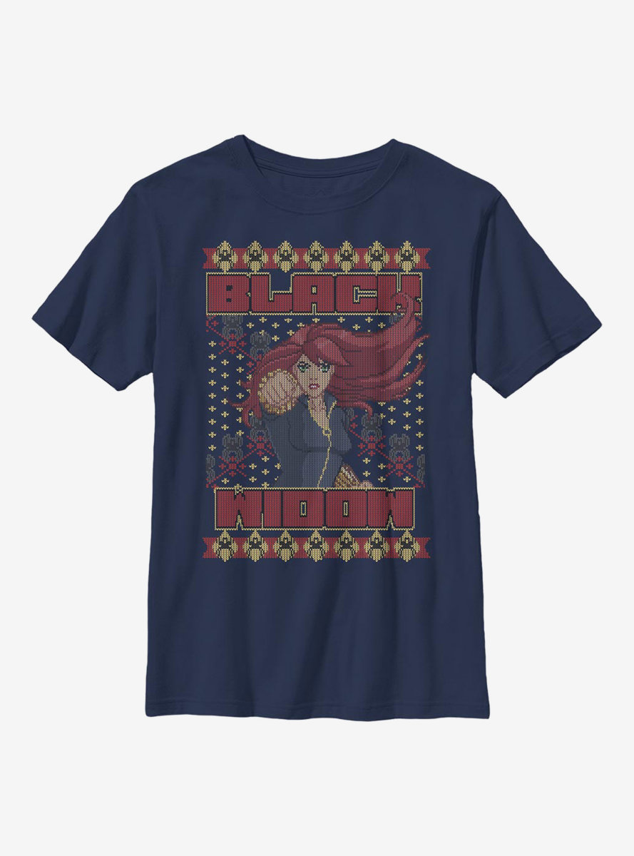 Marvel Black Widow Christmas Holiday Pattern Youth T-Shirt