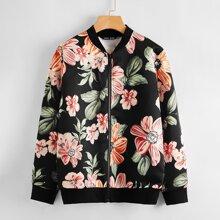 Zip Up Floral Print Bomber Jacket