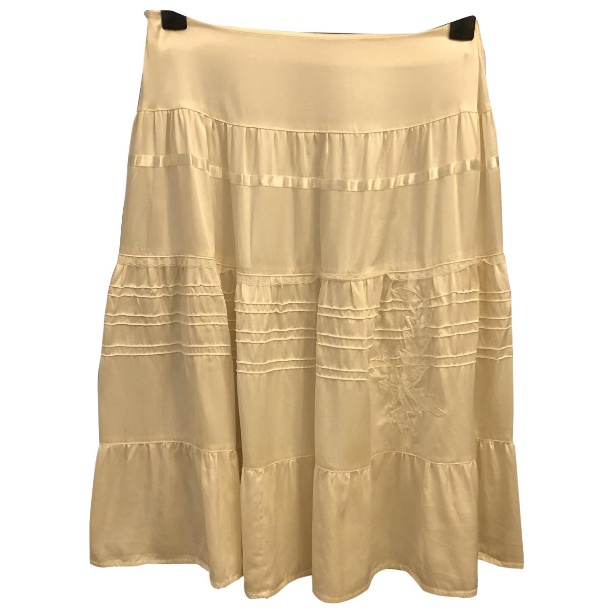 Non Signé / Unsigned \N Ecru Silk skirt for Women 36 FR