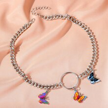 Girls Butterfly Charm Chain Necklace