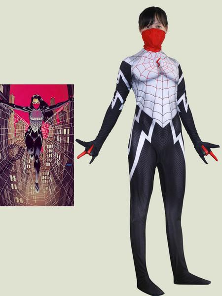 Milanoo Marvel Comics Spider Man Cosplay Masked Spiderman White Film Jumpsuit Marvel Comics