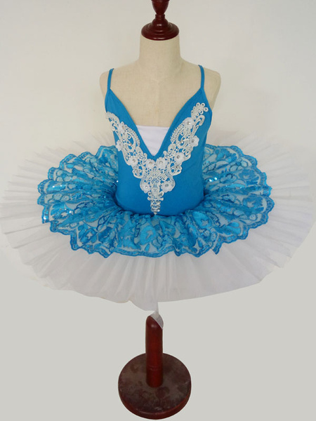 Milanoo Ballet Dance Dress Blue Lace Pleated Applique Tutu Ballerina Costume