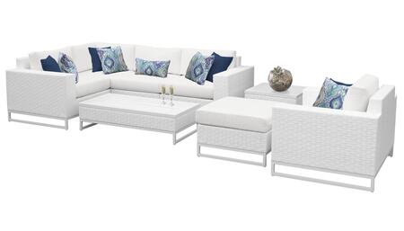 Miami MIAMI-08g 8-Piece Wicker Patio Furniture Set 08g with Corner Chair  Armless Chair  Ottoman  End Table  Coffee Table  Club Chair  Left Arm Chair