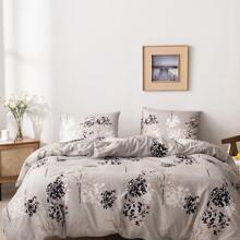 Bettwaesche Sets mit Blumen Muster ohne Fuellstoff